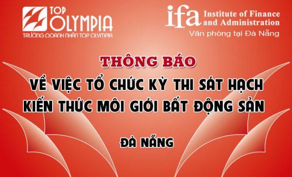 Thông báo về việc tổ chức kỳ thi sát hạch kiến thức môi giới bất động sản tại Đà Nẵng