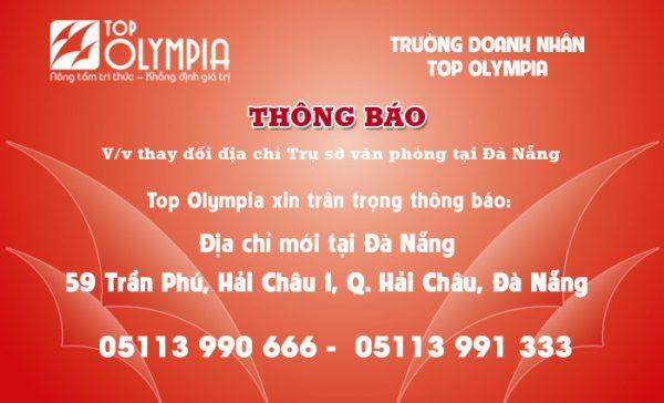 Thông báo về việc thay đổi địa chỉ Trụ sở văn phòng tại Đà Nẵng