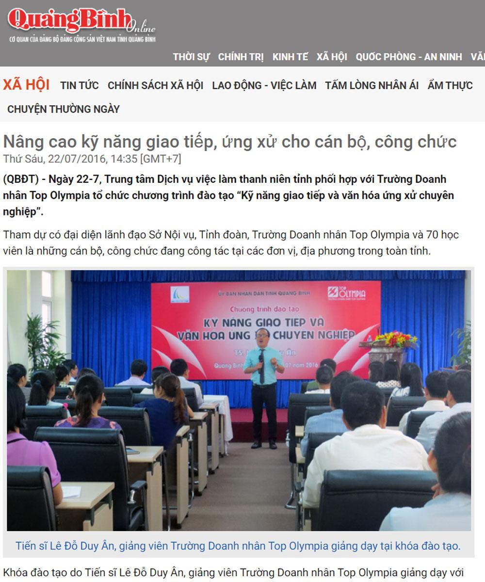 Nâng cao kỹ năng giao tiếp, ứng xử cho cán bộ, công chức tại Quảng Bình