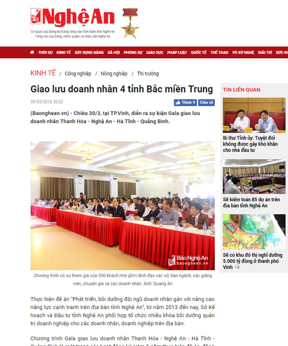 Chiều 30/3, tại TP.Vinh, diễn ra sự kiện Gala giao lưu doanh nhân Thanh Hóa - Nghệ An - Hà Tĩnh - Quảng Bình.