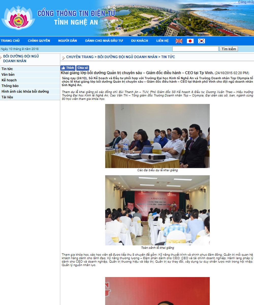 Khai giảng lớp bồi dưỡng Quản trị chuyên sâu – Giám đốc điều hành – CEO tại Tp Vinh