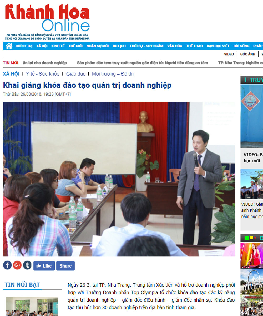 Khai giảng khóa đào tạo quản trị doanh nghiệp tại Khánh Hòa