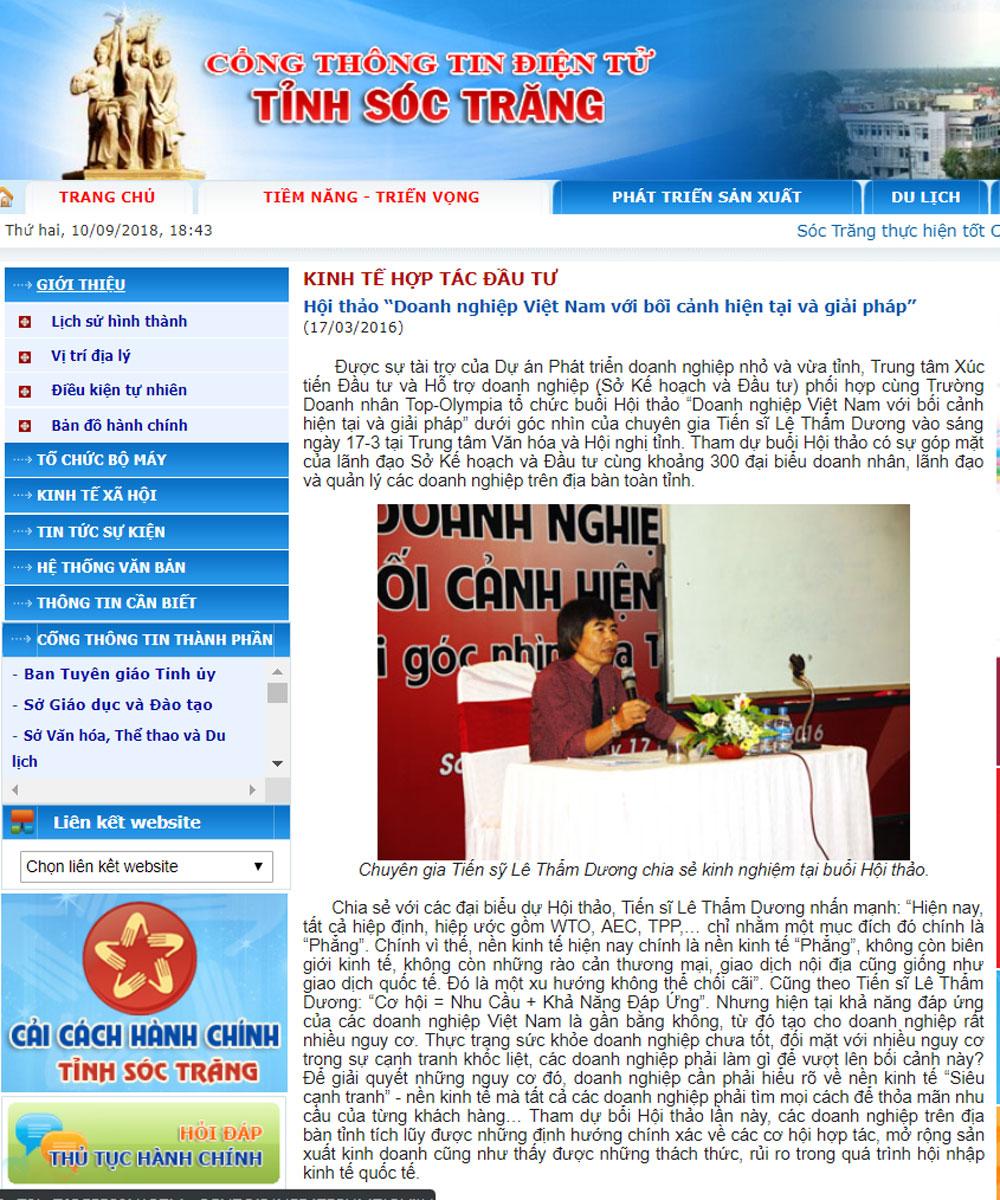 """Hội thảo """"Doanh nghiệp Việt Nam với bối cảnh hiện tại và giải pháp"""" tại Sóc Trăng"""